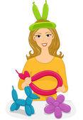 Balloon Twisting Girl — Stock Photo