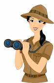 Safari Girl With Binoculars — Stock Photo