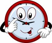Clock Mascot Adjusting the Time — Stockfoto