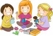 Girls Sewing Doll Clothes — Stock Photo