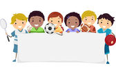 Child Athletes With Blank Banner — Stock Photo