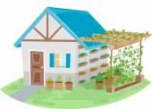 House With a Trellis Garden — Stock Photo
