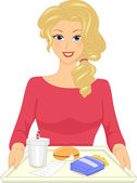 Woman With Fast Food Tray — Stock Photo