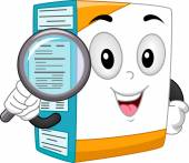 Box Mascot With Magnifying Glass — Stock Photo