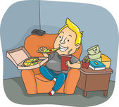 Man Binge Eating — Stock Photo