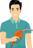 Man Holding a Gasoline Pump — Stock Photo