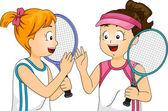 Girls Playing Tennis — Stock Photo