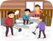 Family Shoveling Snow — Stock Photo