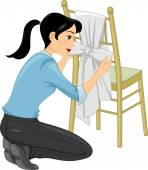 Woman Decorating a Tiffany Chair — Stock Photo