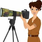Female Wildlife Photographer — Stock Photo