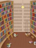 Library with Books Strewn Around — Stock Photo