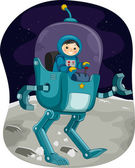Kiddie Astronaut in a Space Robot — Stock Photo