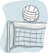 Volleyball Perched on a Net — Stock Photo
