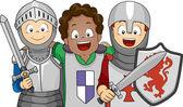 Boys Wearing Knight Costumes — Stock Photo