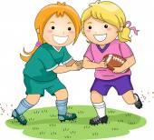 Girls Playing Football — Stock Photo