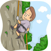 Man Rappelling Down a Cliff — Stock Photo