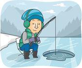 Man Ice Fishing — Stock Photo