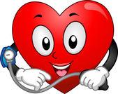 Heart Mascot Taking Blood Pressure — Stockfoto