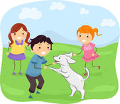 Kids Playing with Their Dog — Stock Photo