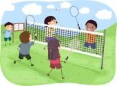 Kids Playing Badminton — Stock Photo