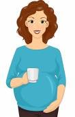 Pregnant Woman Holding a Cup — Stock Photo