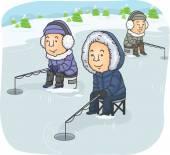 Men Ice Fishing — Stock Photo