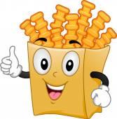 Crinkle Cut Fries Mascot — Stock Photo