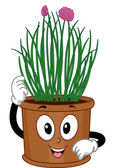 Potted Chives Mascot — Stock Photo