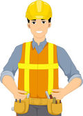Male Constructor in Hard Hat — Stock Photo
