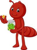 Ant Mascot Saving Money — Stock Photo