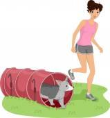 Girl Guiding Dog Through a Tunnel — Stock Photo