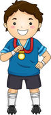 Little Football Player's Medal — Stock Photo