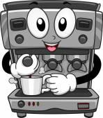 Coffee Machine Mascot — Stock Photo