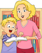 Mother and Son in a Bookstore Together — Stock Photo