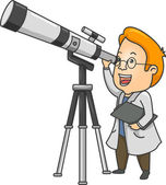 Researcher Using a Telescope — Stock Photo