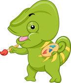 Chameleon Mascot With a Paintbrush — Stock Photo