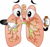 Lungs Mascot Taking Cough Syrup — Stock Photo