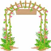 Wooden Arch with Blank Sign — Foto de Stock