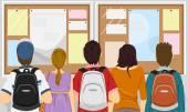 Students Gathered at Bulletin Board — Stock Photo