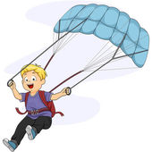 Boy Maneuvering Parachute — Stock Photo