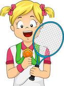 Tennis Medal Girl — Stock Photo