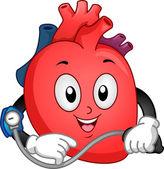 Heart Mascot Taking Blood Pressure — Stock Photo