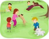 Children Training Their Dogs — Stock Photo
