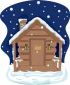 Snow Covered Cabin at Night — Stock Photo