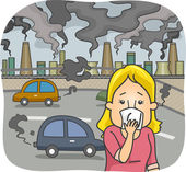 Woman in a Polluted City — Stock Photo