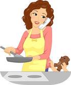 Mother Handling Multiple Tasks — Stock Photo