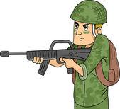 Machine Gun Soldier — Stock Photo