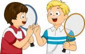 Lawn Tennis Boys — Stock Photo