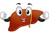 Liver Mascot Flexing Muscles — Stock Photo