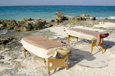 Massage Tables Next to Coastline in Mexico — Stock Photo